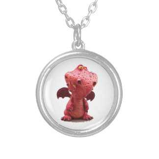Goofy winged Red Dragon with crazy Smile Silver Plated Necklace