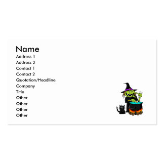 Goofy Witch Cauldron & Black Cat Business Card