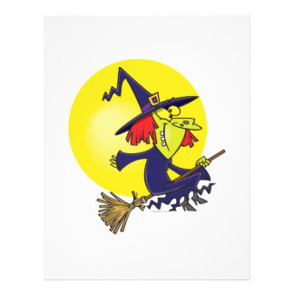 goofy witch on broomstick halloween cartoon personalized flyer