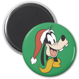 Goofy with Santa Hat 2 Inch Round Magnet