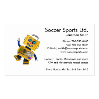 Goofy yellow toy robot business card