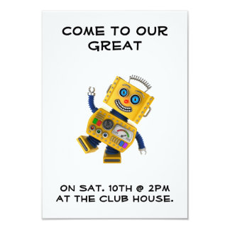 Goofy yellow toy robot card