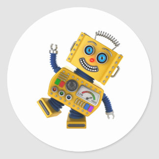 Goofy yellow toy robot classic round sticker