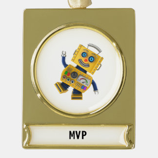 Goofy yellow toy robot gold plated banner ornament
