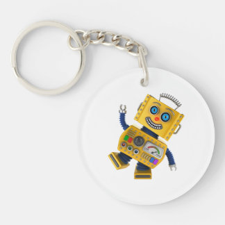 Goofy yellow toy robot keychain