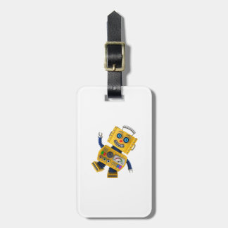Goofy yellow toy robot luggage tag