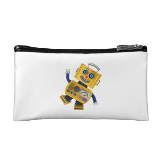Goofy yellow toy robot makeup bag