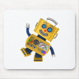 Goofy yellow toy robot mouse pad