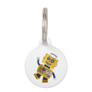 Goofy yellow toy robot pet name tag