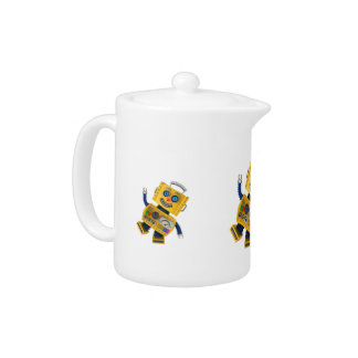 Goofy yellow toy robot teapot