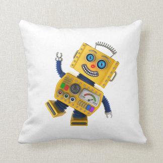 Goofy yellow toy robot throw pillow