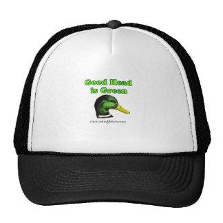 goog head is green trucker hat