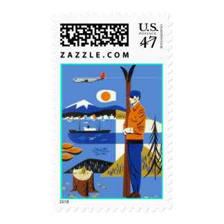 Googie Pacific Northwest Stamps Ski Trees Mtns