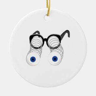 Google Eyes Double-Sided Ceramic Round Christmas Ornament