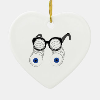 Google Eyes Double-Sided Heart Ceramic Christmas Ornament