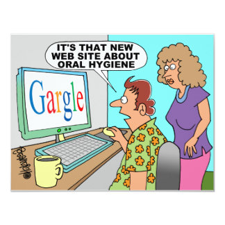 "Google Parody Cartoon 4.25"" X 5.5"" Invitation Card"