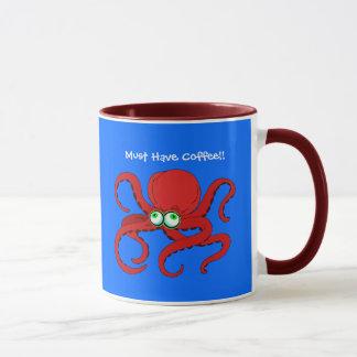 Googley Eyed Red Cartoon Octopus Mug