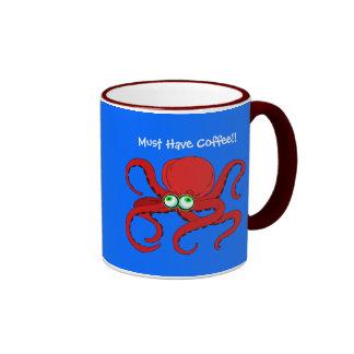 Googley observó el pulpo rojo del dibujo animado taza a dos colores