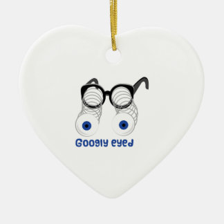 Googly Eyed Double-Sided Heart Ceramic Christmas Ornament