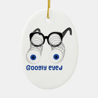 Googly Eyed Double-Sided Oval Ceramic Christmas Ornament