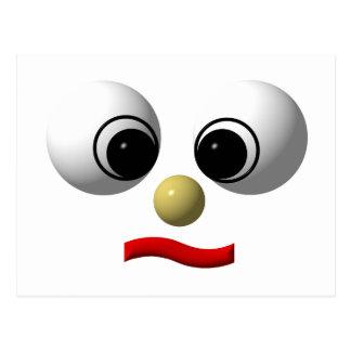 Googly-eyed face #1 postcard