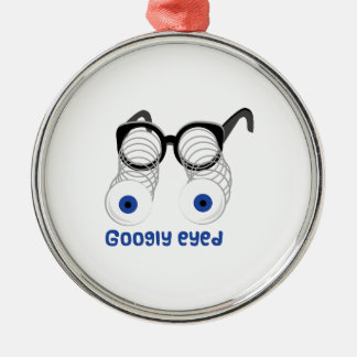 Googly Eyed Round Metal Christmas Ornament