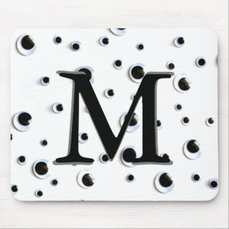 Googly Eyes Black and White Cute Monogram Mouse Pad
