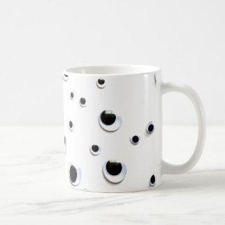 Googly Eyes Black and White Trendy Dots Cute Coffee Mug