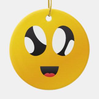 googly Eyes Smiley Ceramic Ornament