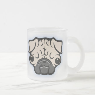 Googly Pugly Frosted Glass Coffee Mug