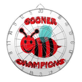 gooner bee champions dartboard with darts