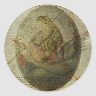 Goose and Frog's Easter Journey Classic Round Sticker