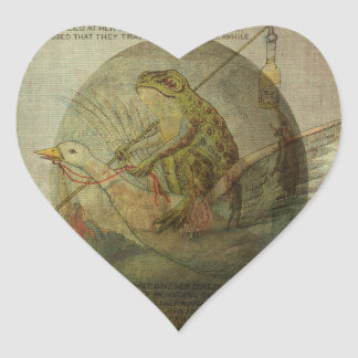 Goose and Frog's Easter Journey Heart Sticker