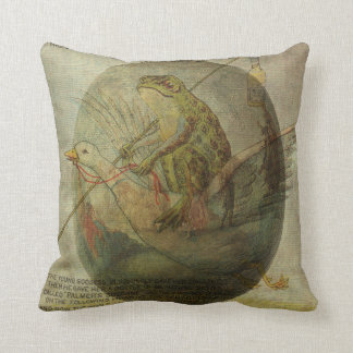 Goose and Frog's Easter Journey Throw Pillow