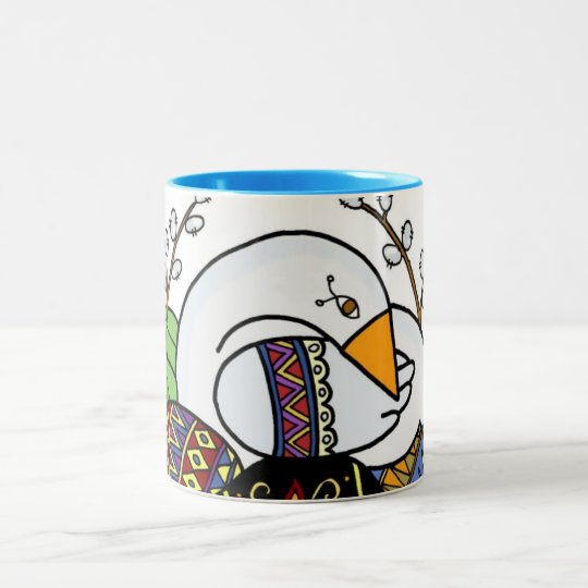 Goose and Pysanky Ukrainian Folk Art, Two-Tone Coffee Mug