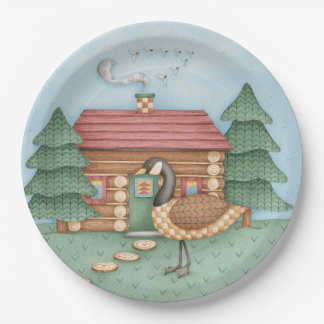 Goose at Cabin Paper Plate