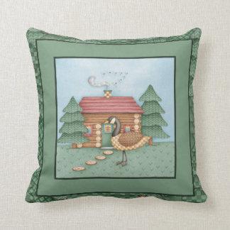 Goose at Cabin Throw Pillow
