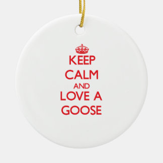 Goose Double-Sided Ceramic Round Christmas Ornament