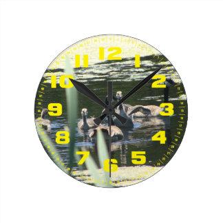 Goose Family Swim Round Clock