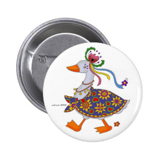 Goose Goes Out Ukrainian Folk Art 2 Inch Round Button
