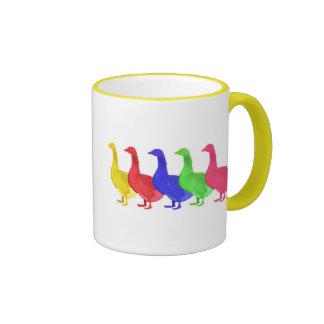 Goose in Five Colors Mugs