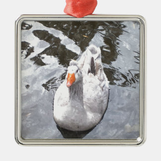 Goose in the Water Metal Ornament