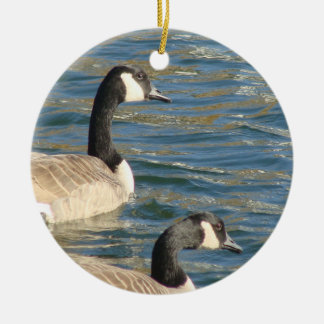 Goose Pair Ceramic Ornament