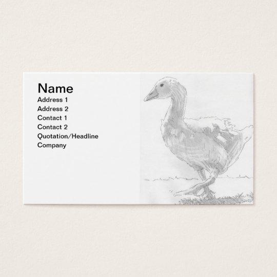 Goose Pencil Drawing Sketch Farmer Business Card