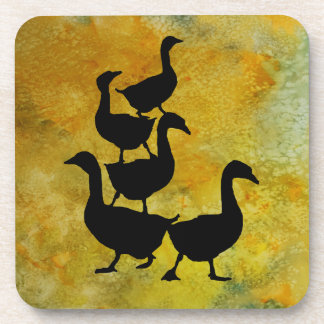 Goose Pile on Yellow Drink Coasters