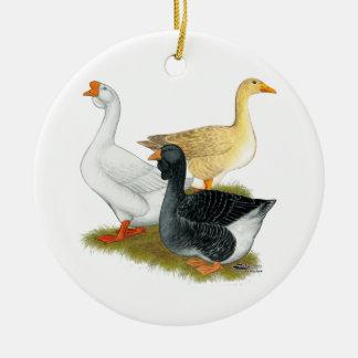 Goose Trio Ceramic Ornament