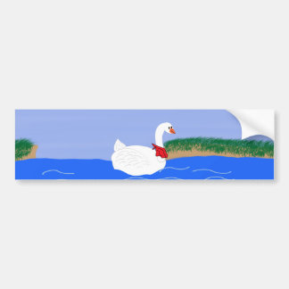 Goose White in Lake Cartoon Art Car Bumper Sticker