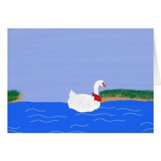 Goose White in Lake Cartoon Art Card