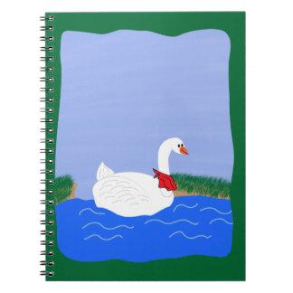Goose White in Lake Cartoon Art Notebooks