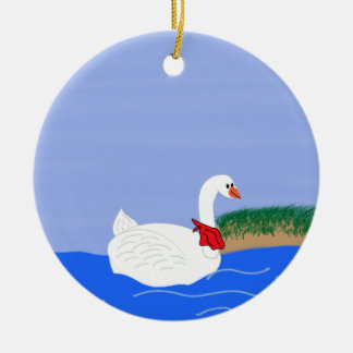 Goose White in Lake Cartoon Art Double-Sided Ceramic Round Christmas Ornament